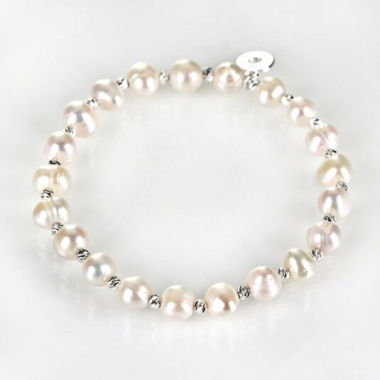 White Fresh Water Pearl Silver Plated Boxed Bracelet