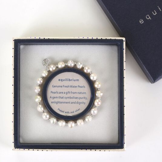 Equilibrium White Fresh Water Pearl Silver Plated Boxed