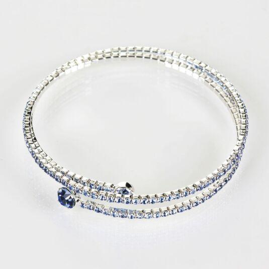 Blue Diamanté Silver Plated Boxed Flexi Bangle