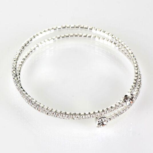 Clear Diamanté Silver Plated Boxed Flexi Bangle