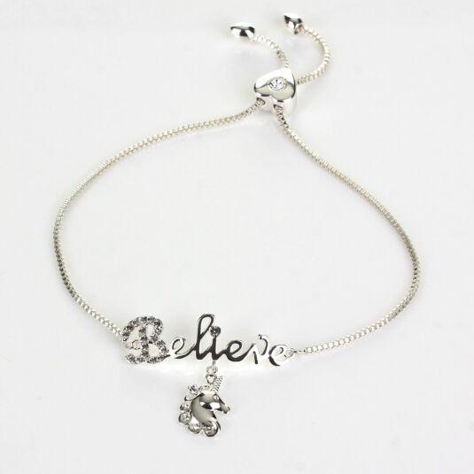 Unicorn Dreams 'Believe' Silver Plated Friendship Boxed Bracelet