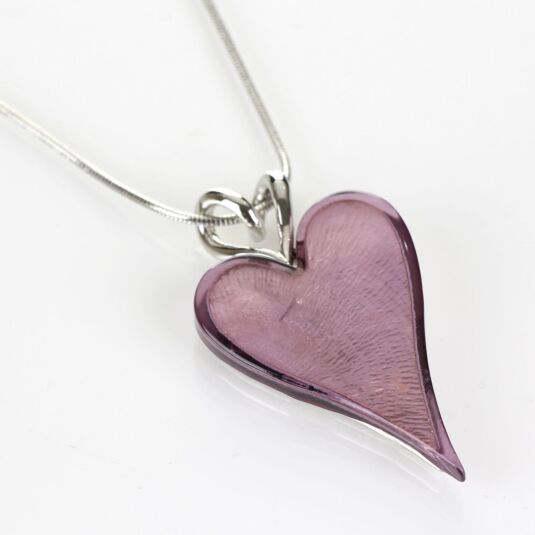 Modern Etched Effect Boxed Purple Heart Necklace
