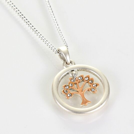 Matt Silver & Rose Gold Plated Circle of Life Boxed Necklace