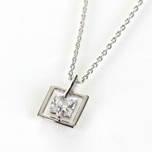 Hanging Crystal Platinum Plated Boxed Square Necklace