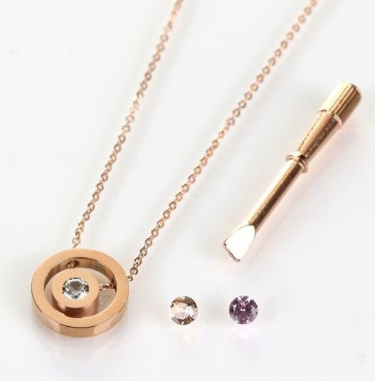 Rose Gold Changeable Crystal Boxed Necklace