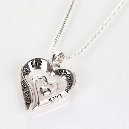 Silver Plated Eternal Heart Moon and Back Boxed Necklace