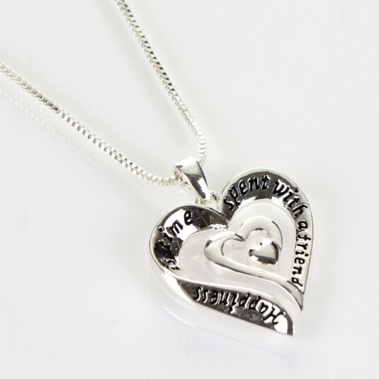 Silver Plated Eternal Heart Friend Boxed Necklace