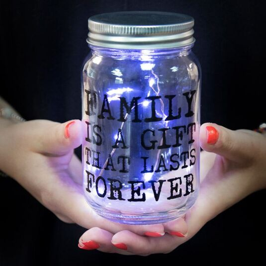 Family is a Gift LED Firefly Jar