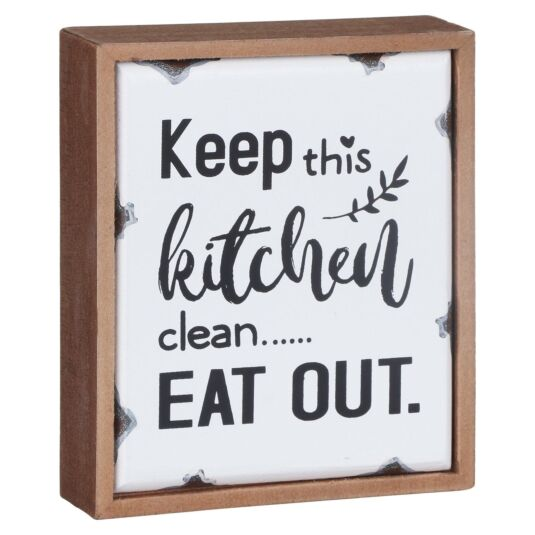 'Keep This Kitchen Clean' Old Enamel Plaque