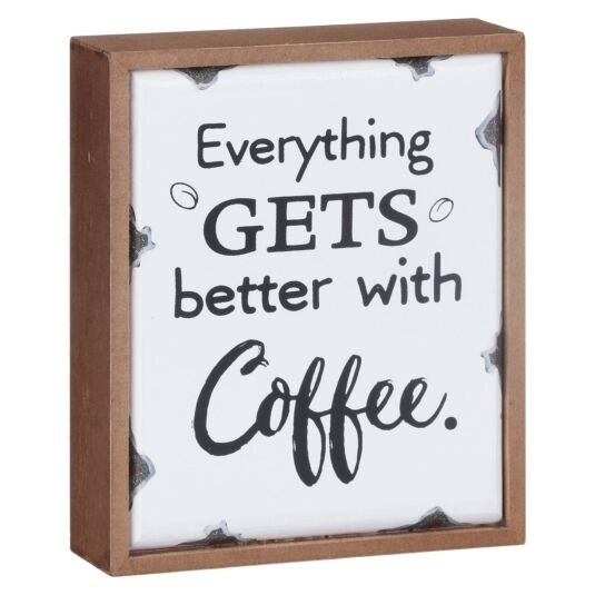 'Better With Coffee' Old Enamel Plaque