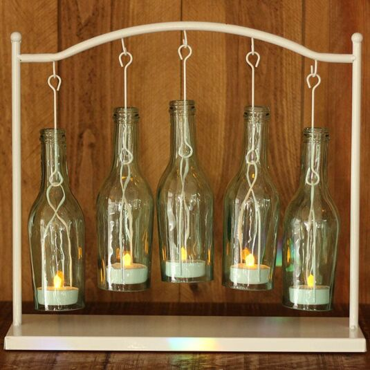 Eau 5 bottle candle holder temptation gifts for How to make candle holders out of wine bottles