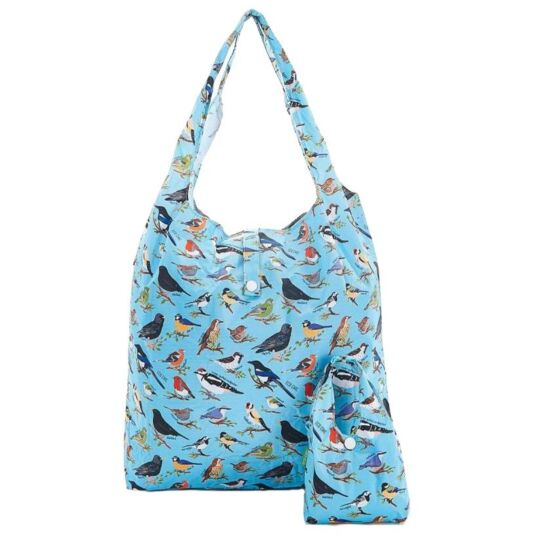 Eco Chic Blue Wild Birds Foldaway Shopper