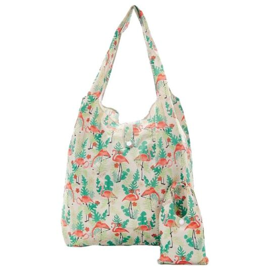 Eco Chic Cream Flamingo Foldaway Shopper