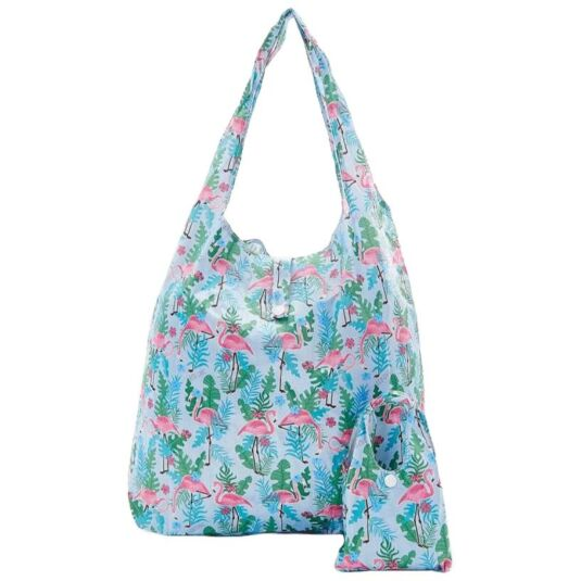 Eco Chic Blue Flamingo Foldaway Shopper