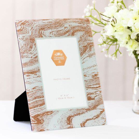 "Mirror 4"" x 6"" Rose Gold Glitter Swirl Photo Frame"