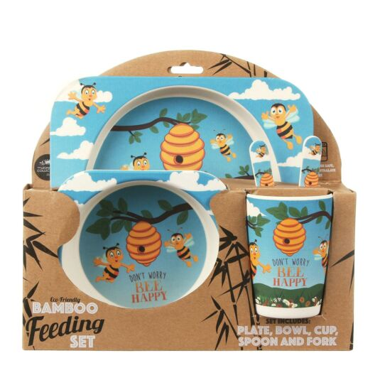 'Bee Happy' Eco-Friendly Bamboo Feeding Set