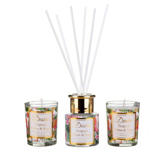 Desire Tropical Citrus and Sage Diffuser and Candle Set