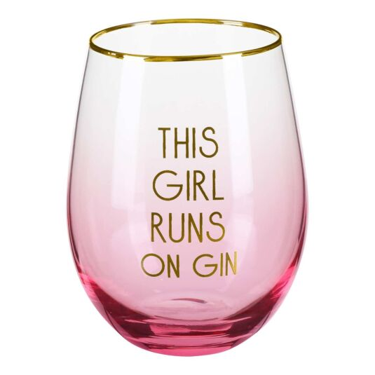 Let's Party 'This Girl Runs On Gin' Stemless Glass