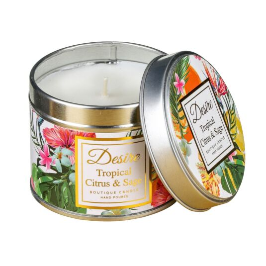 Desire Tropical Citrus and Sage Tinned Candle
