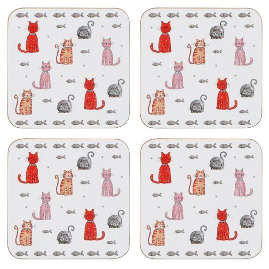 Faithful Friend Set Of 4 Cat Coasters