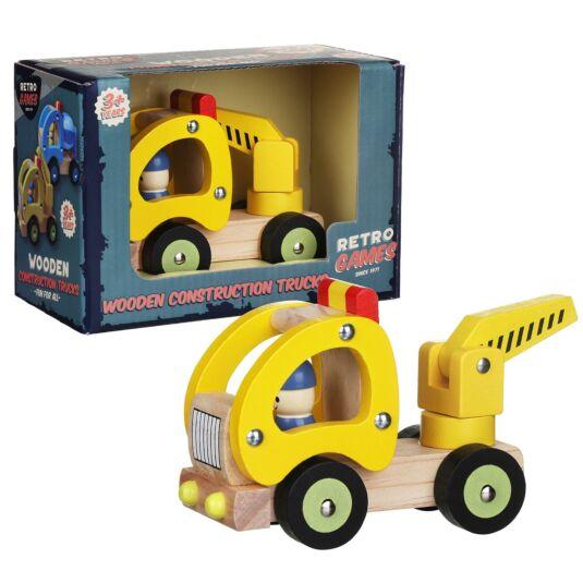Wooden Retro Yellow Construction Truck