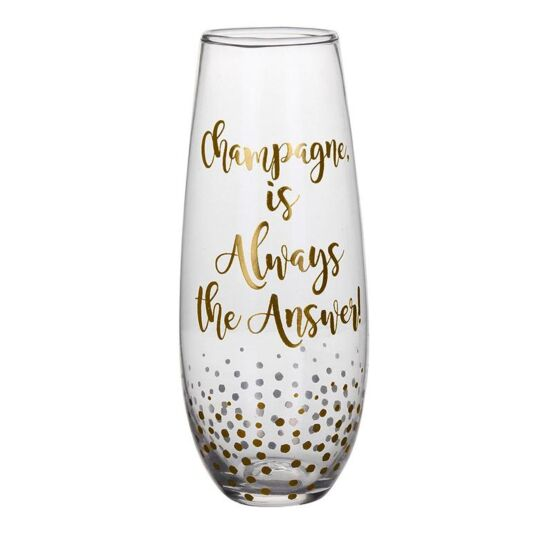 Gold Edition 'Always the Answer' Stemless Champagne Flute