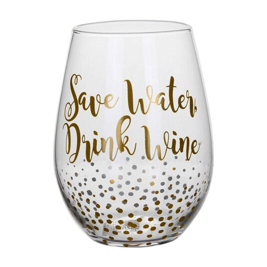 Gold Edition 'Save Water' Stemless Wine Glass
