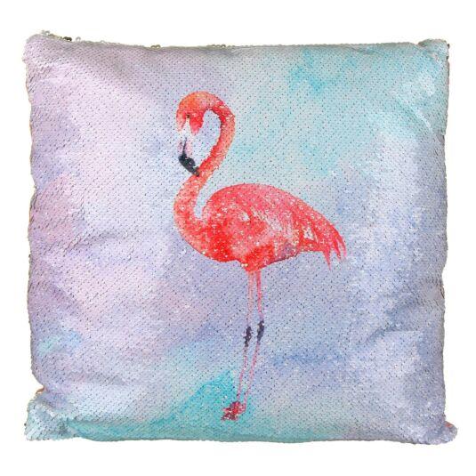 Flamingo Coloured Sequin Cushion