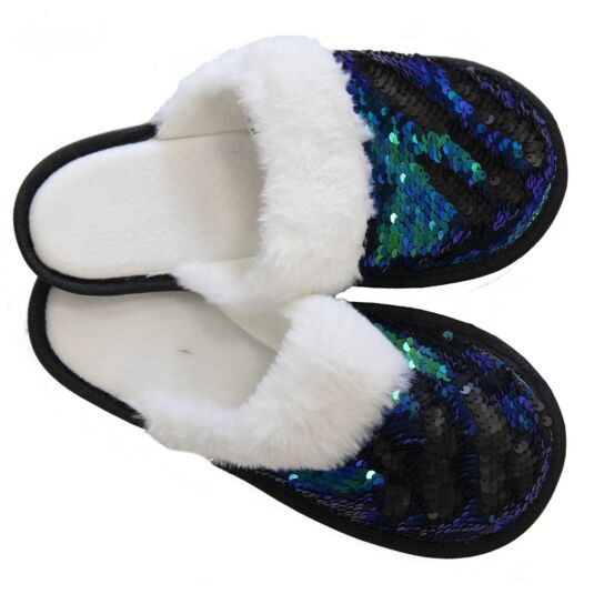 93f65196d43 Blue   Black Sequin Slippers