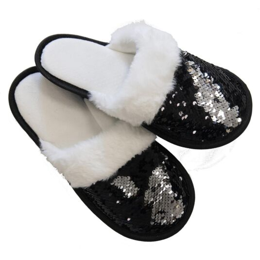 Black & Silver Sequin Slippers