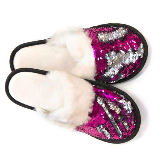 Pink & Silver Sequin Slippers