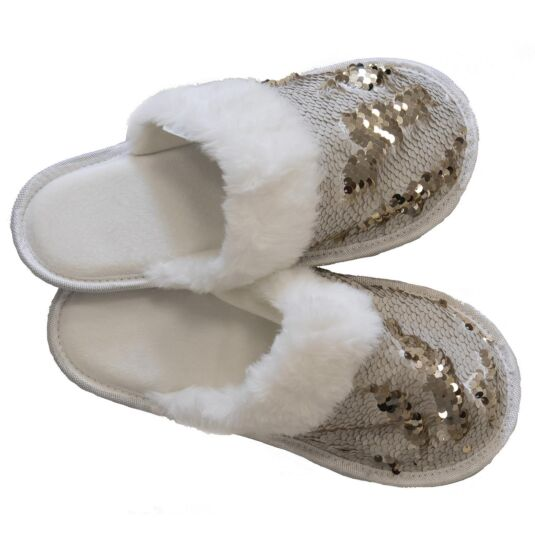 White & Bronze Sequin Slippers