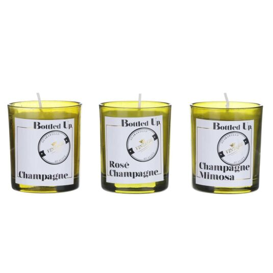 Bottled Up Champagne Scented Set of 3 Candles