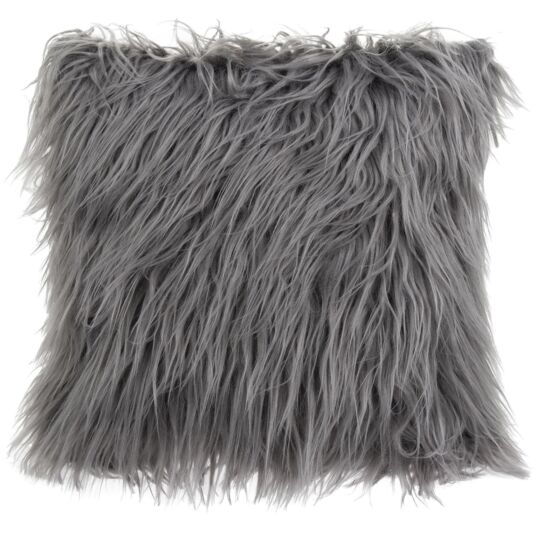Grey Furry Cushion