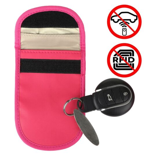 Car Key Signal Blocker Pink Pouch