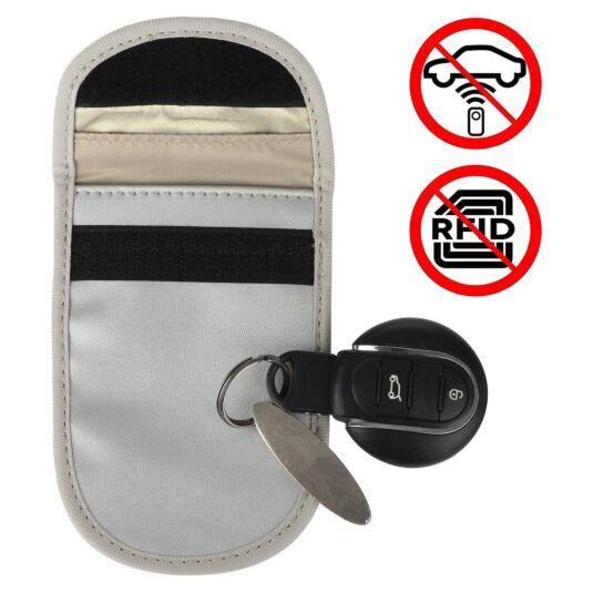 Car Key Signal Blocker Silver Pouch