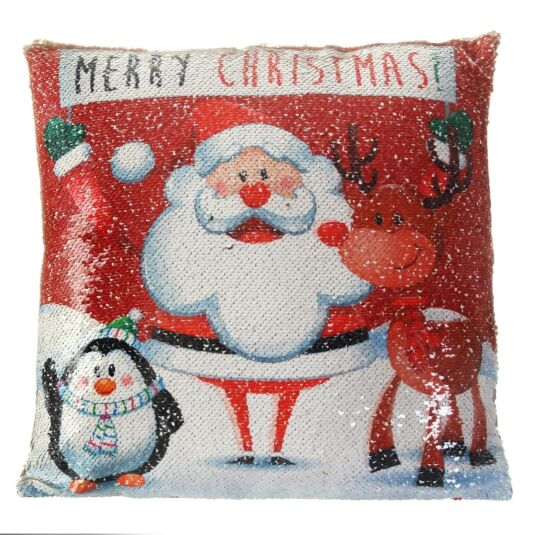 'Merry Christmas' Sequin Cushion