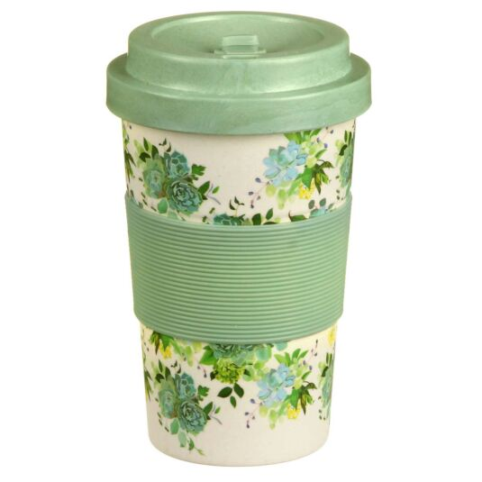 Small Floral Roses Bamboo Travel Mug