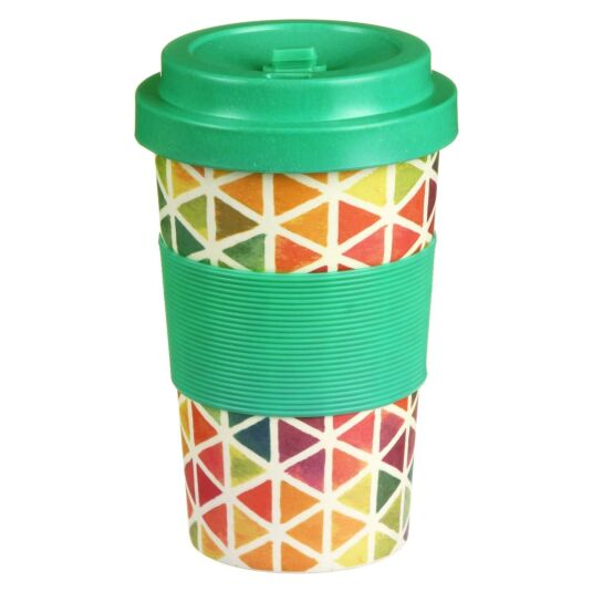 Small Geometric Jigsaw Bamboo Travel Mug