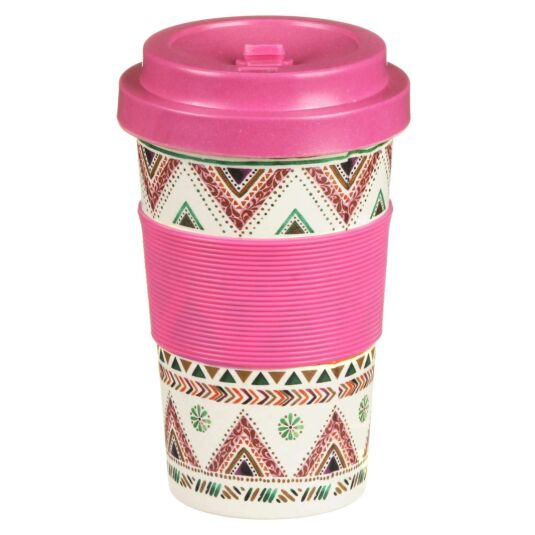Small Geometric Exotic Bamboo Travel Mug