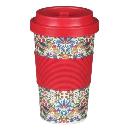 William Morris White Strawberry Thief Small Travel Mug