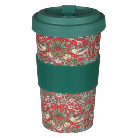 William Morris Red Strawberry Thief Large Travel Mug