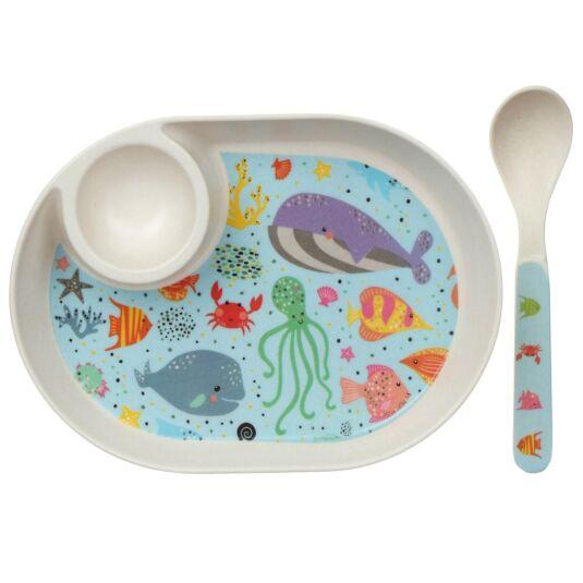 Bamboo Sea Life Egg Plate & Spoon Set