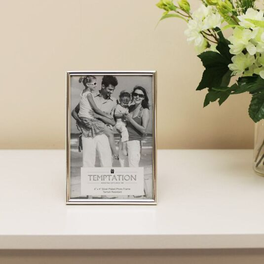 Silver Plated Narrow Edge Photo Frame 6x4