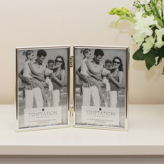 Silver Plated Narrow Edge Double Photo Frame 6x4