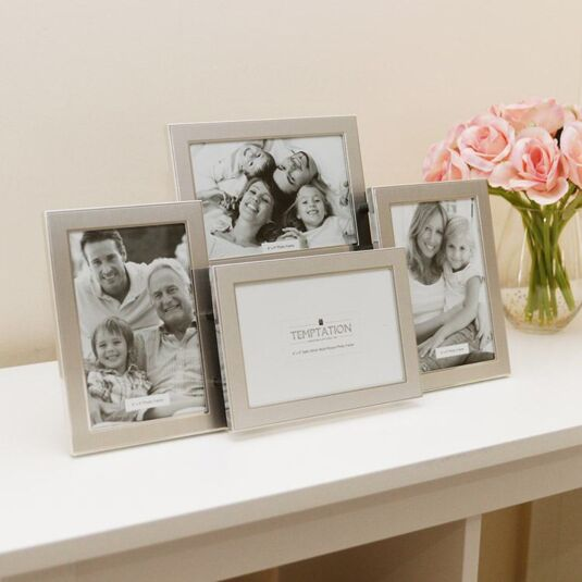 Silver Edged Collage Photo Frame 4 6x4 Temptation Gifts