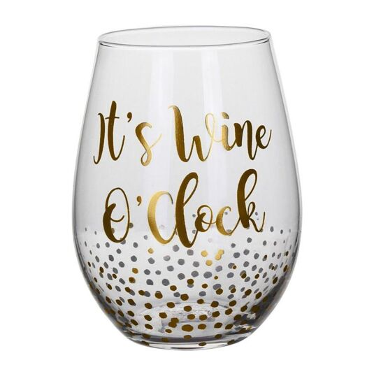 Gold Edition 'Wine O'clock' Stemless Wine Glass