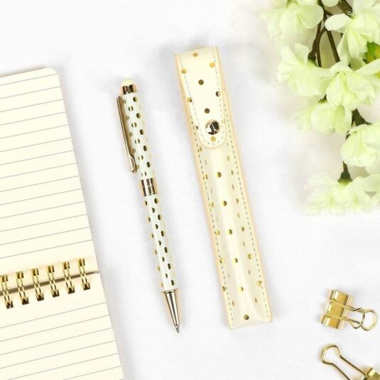 Gold Dots Stylus Pen with Pouch