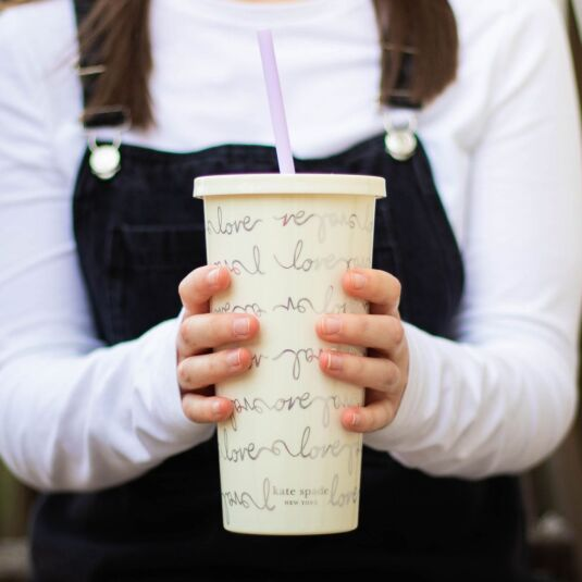 Love Script Tumbler with Straw