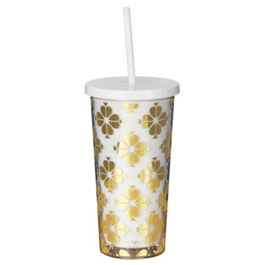 Gold Spade Flower Tumbler with Straw
